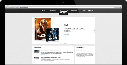 Screenshot der Webseite: www.boomlibrary.com